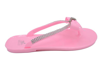 Luxe dames slipper met strass en strik - Roze