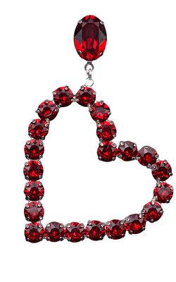 Oorbellen - Sparkling Heart Red